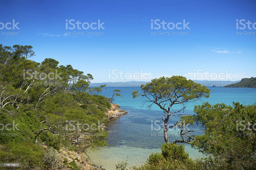 Idyllic beach, paradisiac southern landscape stock photo