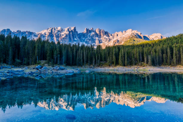 idyllic blue alpine lake carezza, dolomites, italian tirol alps - latemar foto e immagini stock