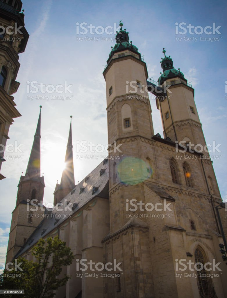 Idyllic Church at Town Square of German city Halle, Germany stock photo