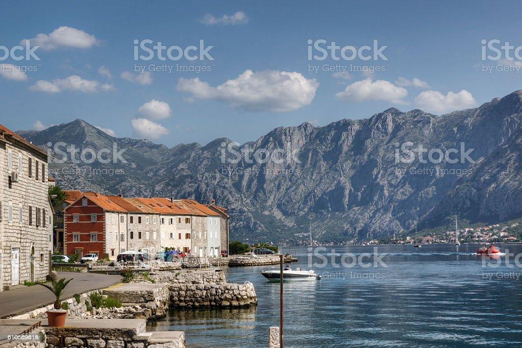 Idyllic Coastline Along the Bay of Kotor in Montenegro stock photo