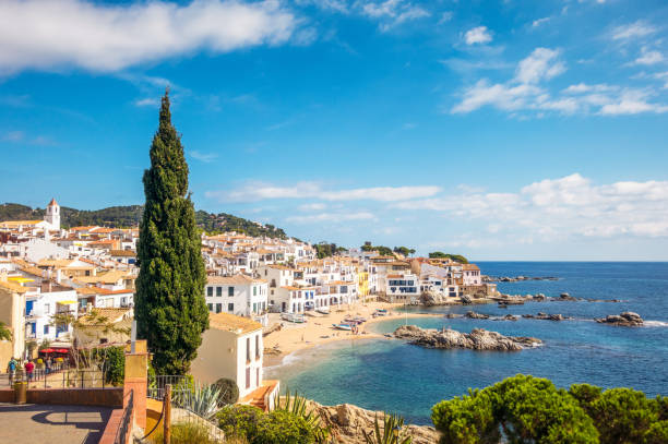 Idyllic Costa Brava seaside town in Girona Province, Catalonia stock photo