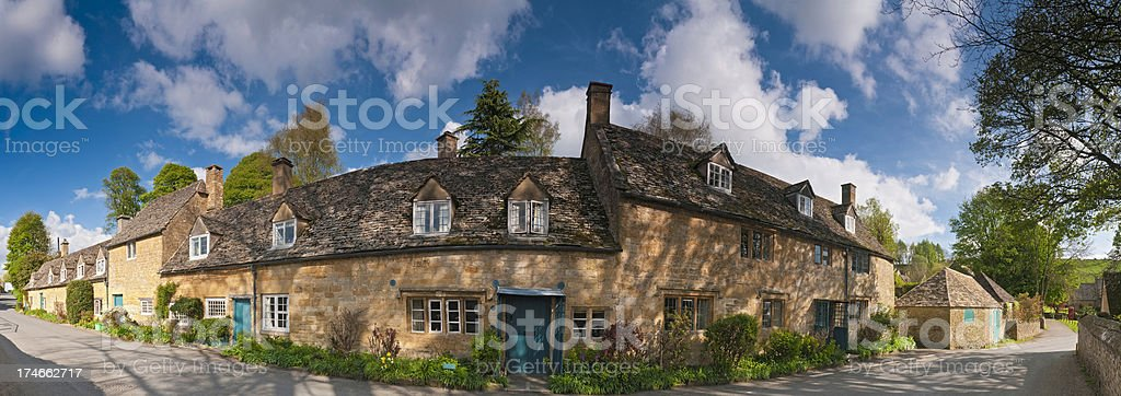 Idyllic Cotswold cottages village vista royalty-free stock photo