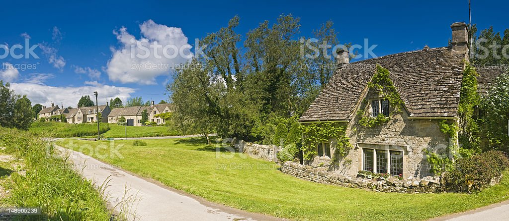 Idyllic country cottage summer village stock photo