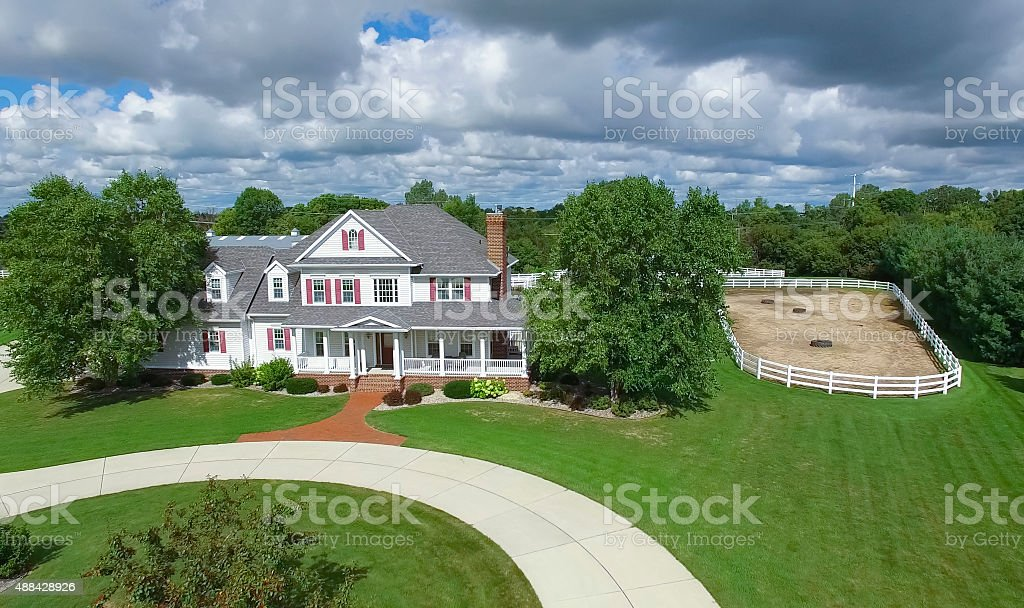 Idyllic Country Home With Horse Pen stock photo