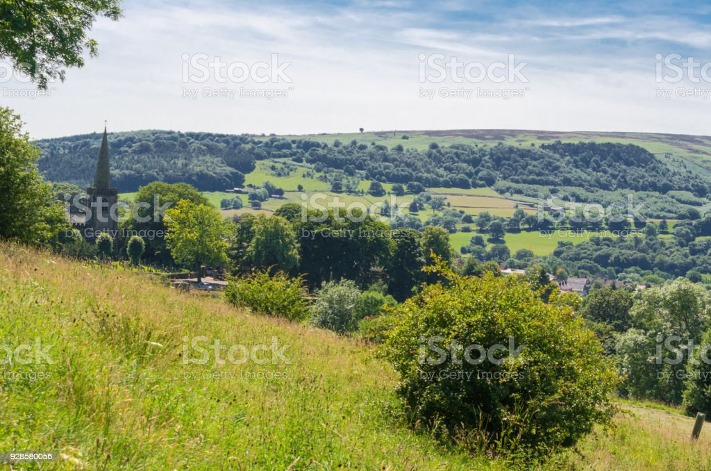 Idyllic countryside landscape in the summer stock photo