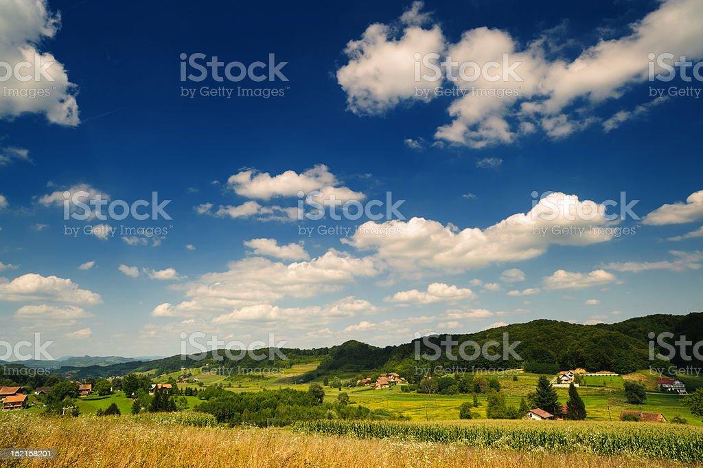 Idyllic countryside. Rural scene under blue sky. Croatia, Zagorje. royalty-free stock photo