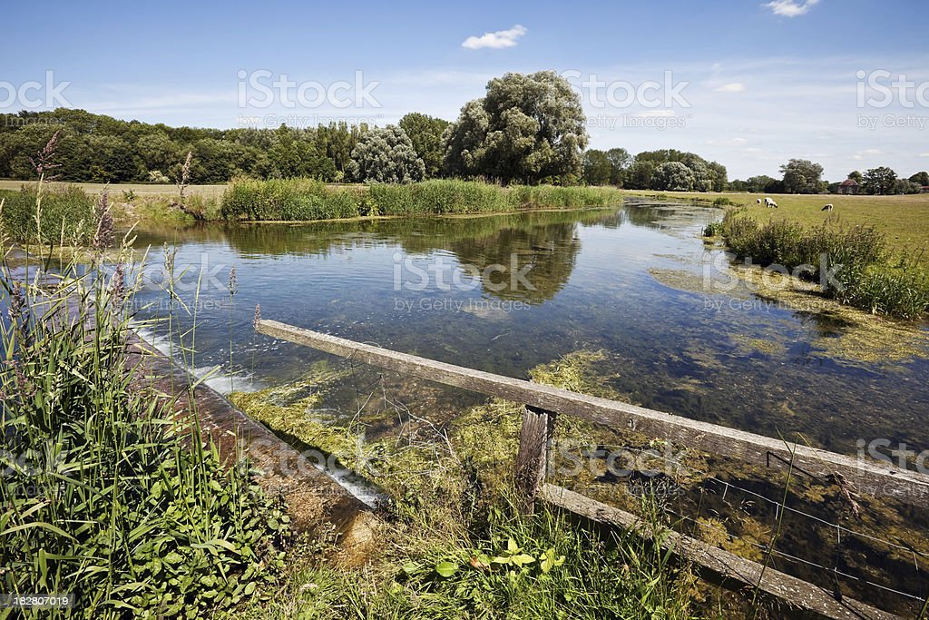 Idyllic English Countryside and River in Buckinghamshire stock photo