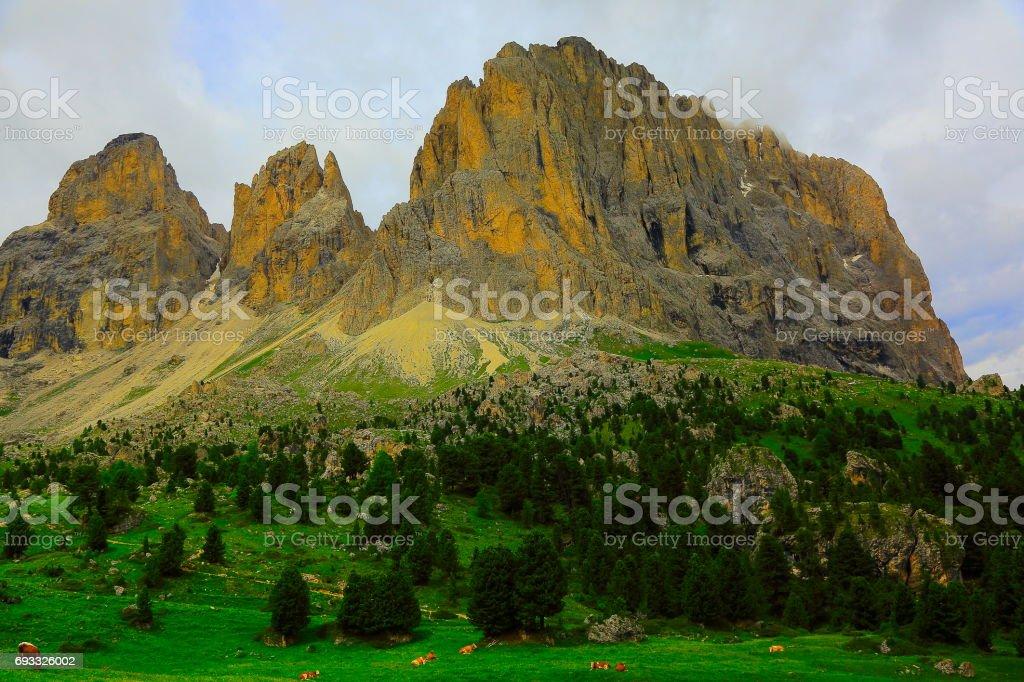 Idyllic Falzarego pass and Lagazuoi pinnacle mountain range at springtime, dramatic panorama and majestic Dolomites, Italy tirol alps stock photo