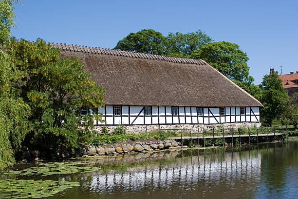 Idyllic Farmhouse at Egeskov Castle, Funen stock photo