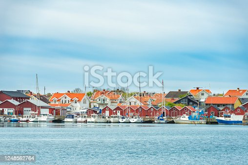 Fishing village on island of Hono in the archipelago of Gothenburg, Sweden.