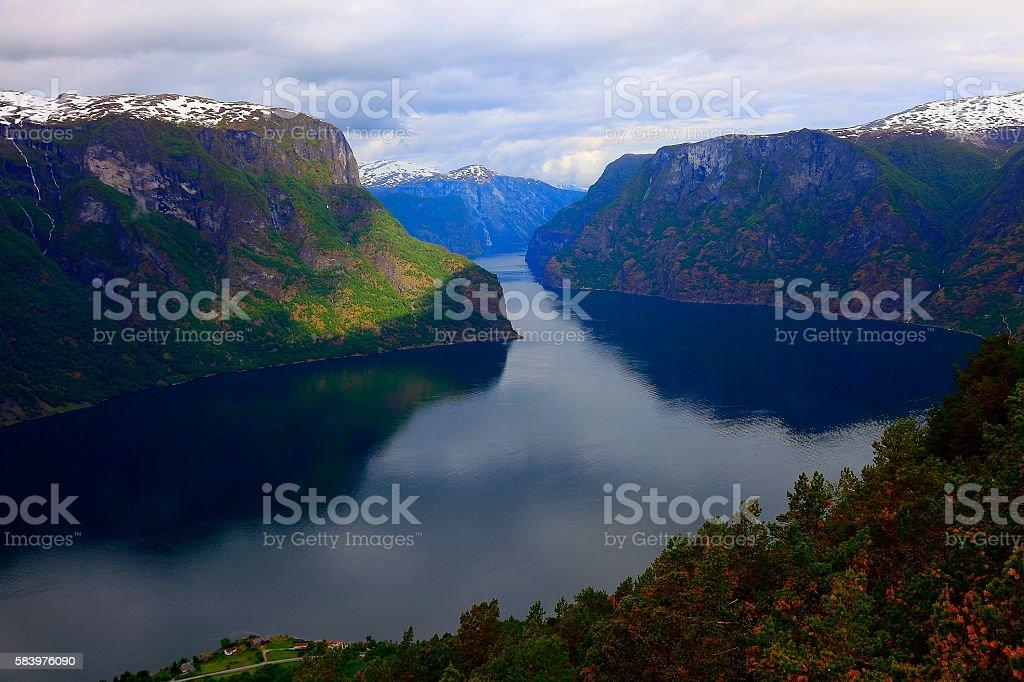 Idyllic fjord landscape panorama, dramatic sunrise, Norway, Scandinavia stock photo