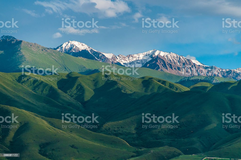 Idyllic green Alpine meadows and snow peaks stock photo