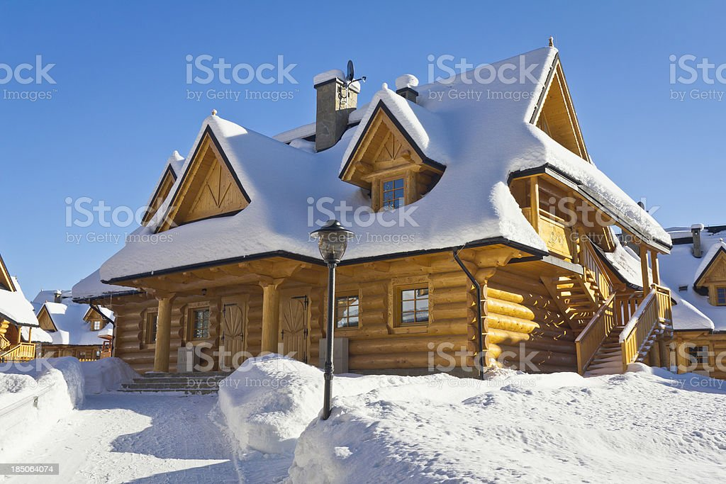 Idyllic holiday Mountain Cabins in winter, Poland royalty-free stock photo