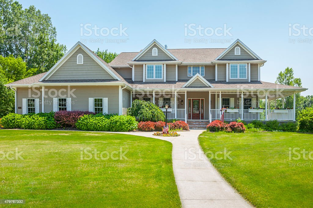 Idyllic Home With Covered Porch stock photo