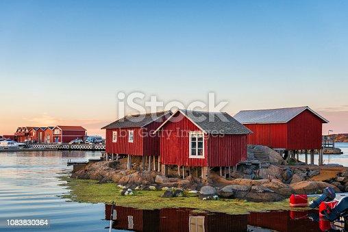 Idyllic Swedish west coast. Bohuslan in the evening. Island of Kallo-Knippla, Sweden.