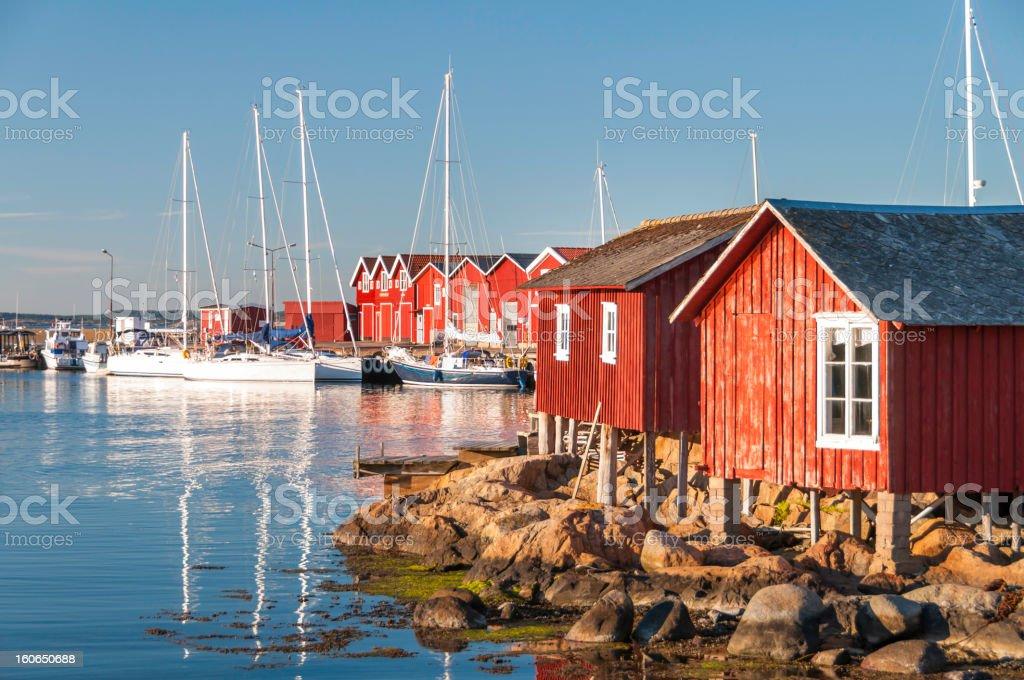 Idyllic Knippla marina. Bohuslan, Sweden royalty-free stock photo