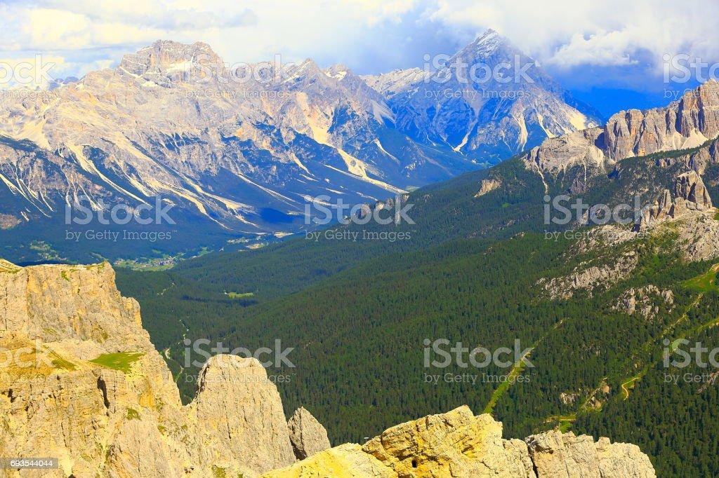 Idyllic Lagazuoi summit panorama, Cinque Torri Dolomites, Antelao on horizon, pinnacles mountain range, dramatic and majestic Italy tirol alps stock photo
