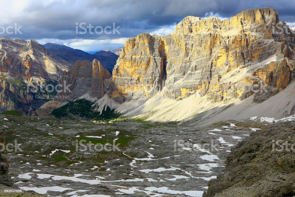 Idyllic Lagazuoi summit panorama, Cinque Torri Dolomites, pinnacles mountain range, dramatic and majestic Italy tirol alps stock photo