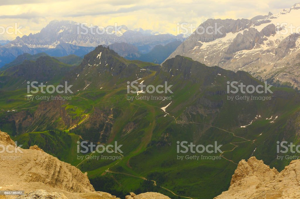 Idyllic Lagazuoi summit panorama, Cinque Torri Dolomites, pinnacles mountain range, dramatic sky and majestic Italy tirol alps stock photo