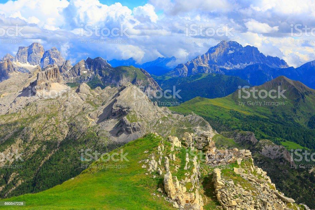Idyllic Lagazuoi summit panorama - Croda da Lago e Mount Civetta, Cinque Torri Dolomites, pinnacles mountain range, dramatic and majestic Italy tirol alps stock photo