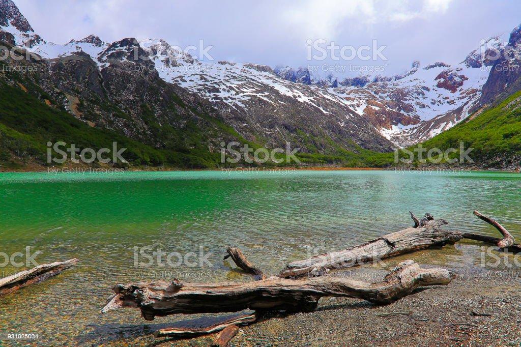 Idyllic Laguna Esmeralda - Emerald lake – Ushuaia, Tierra Del fuego, Argentina stock photo