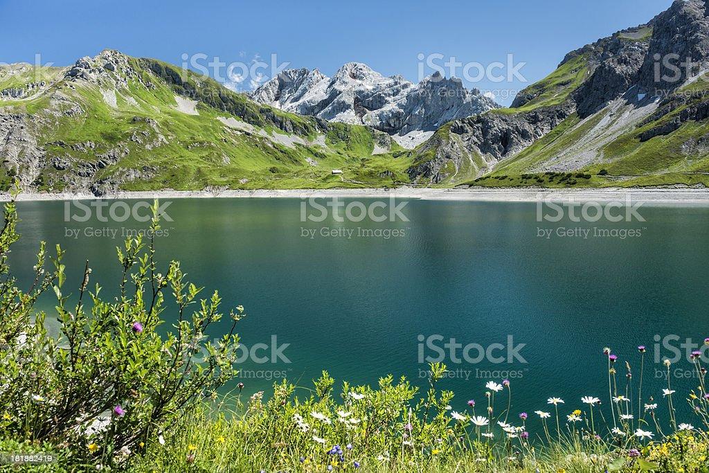 idyllic lake in the mountains stock photo