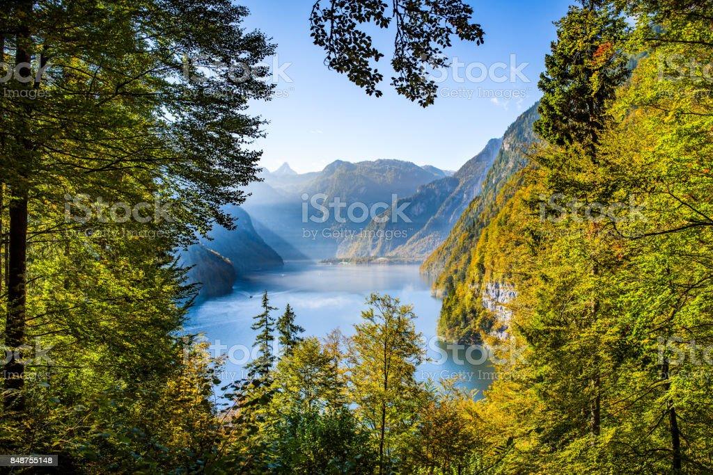 Idyllic lake Koenigsee, Berchtesgaden, Bavaria, Germany stock photo