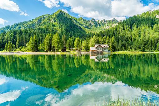 Idyllic landscape at Lake Nambino, near Madonna di Campiglio. Province of Trento, Trentino Alto Adige, northern Italy.