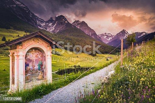 istock Idyllic landscape – biblical scene on Signpost and wildflowers in Tarasp, Engadine – Switzerland 1257312995