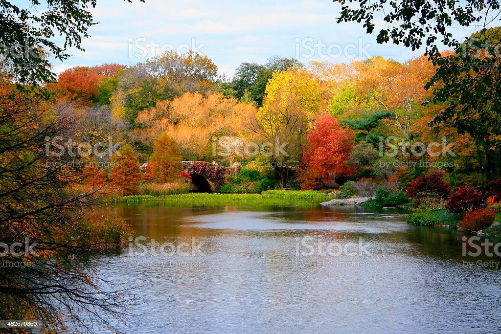 Idyllic landscape: Central Park Gapstow Bridge - New York stock photo