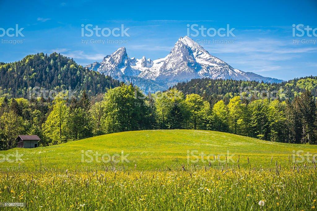 Idilliaco paesaggio delle Alpi con chalet di montagna in primavera - foto stock