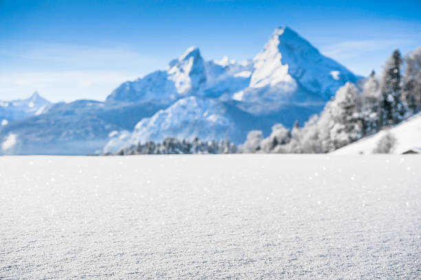 idyllic landscape in the bavarian alps, berchtesgaden, germany - snowy mountains stock photos and pictures