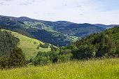 Beautiful view on green slopes of hills. mountains idyllic view. Schwarzwald, Germany. Black Forest.