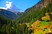 Idyllic Matterhorn and Swiss chalets -  alpine landscape, Zermatt, Swiss Alps