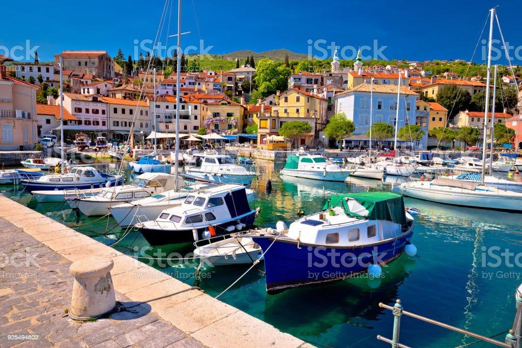 Idyllic mediterranean waterfront in Volosko village, Opatija riviera, Kvarner, Croatia stock photo