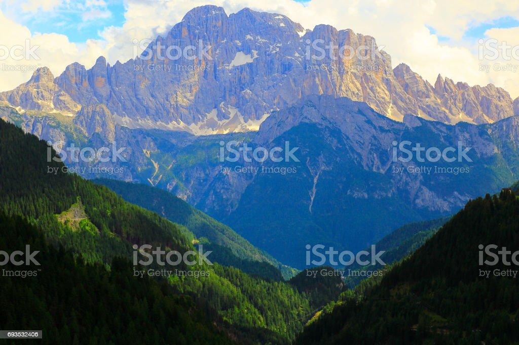 Idyllic Mount Civetta snowcapped pinnacle, Cinque Torri Dolomites, dramatic and majestic Italy tirol alps stock photo