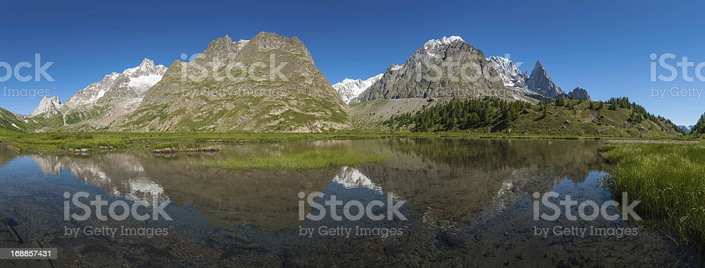 Idyllic mountain lake reflecting peaks pinnacles Alps royalty-free stock photo