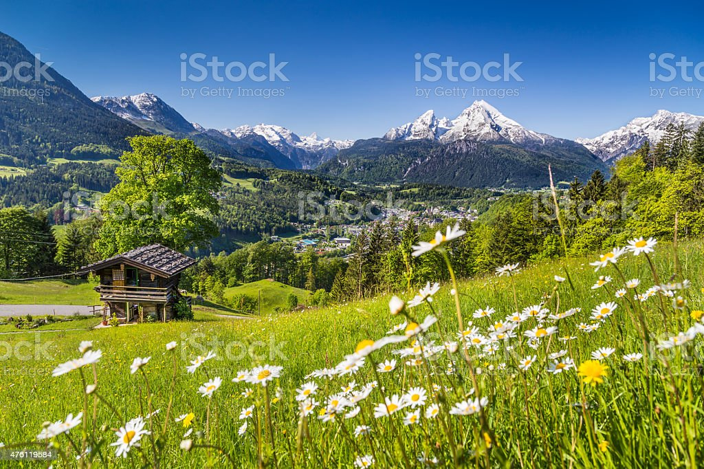 Idyllic mountain landscape in the Alps stock photo