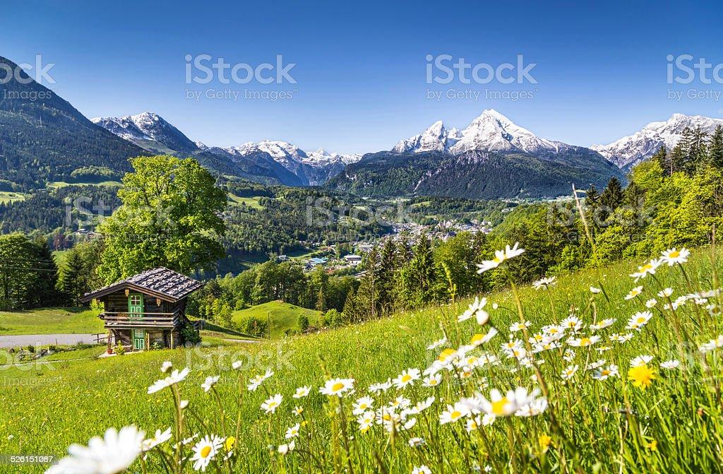 Idyllic mountain landscape in the Alps stock photo