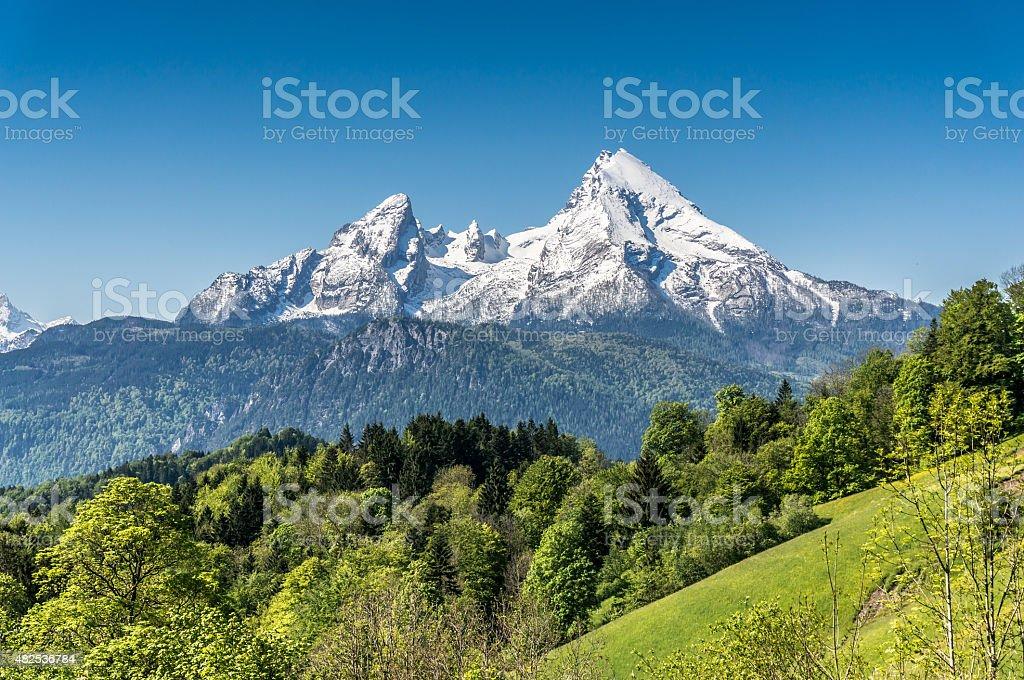 Idyllic mountain landscape in the Bavarian Alps, Germany stock photo