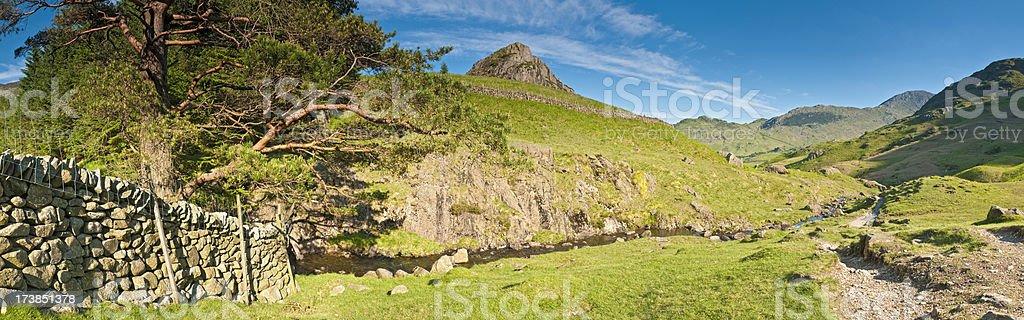 Idyllic mountain trail Lake District UK stock photo