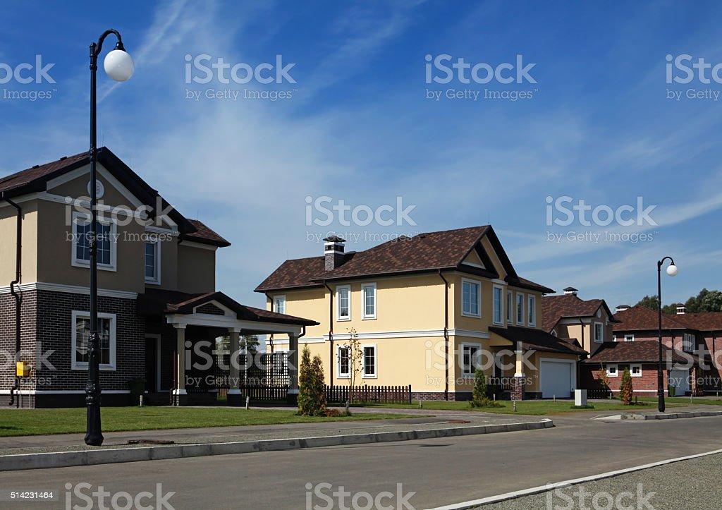 idyllic neighborhood in America stock photo