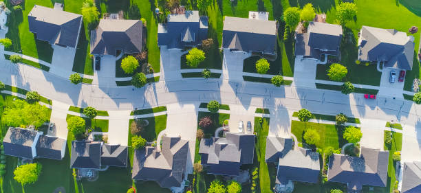Idyllic neighborhood street, aerial view stock photo