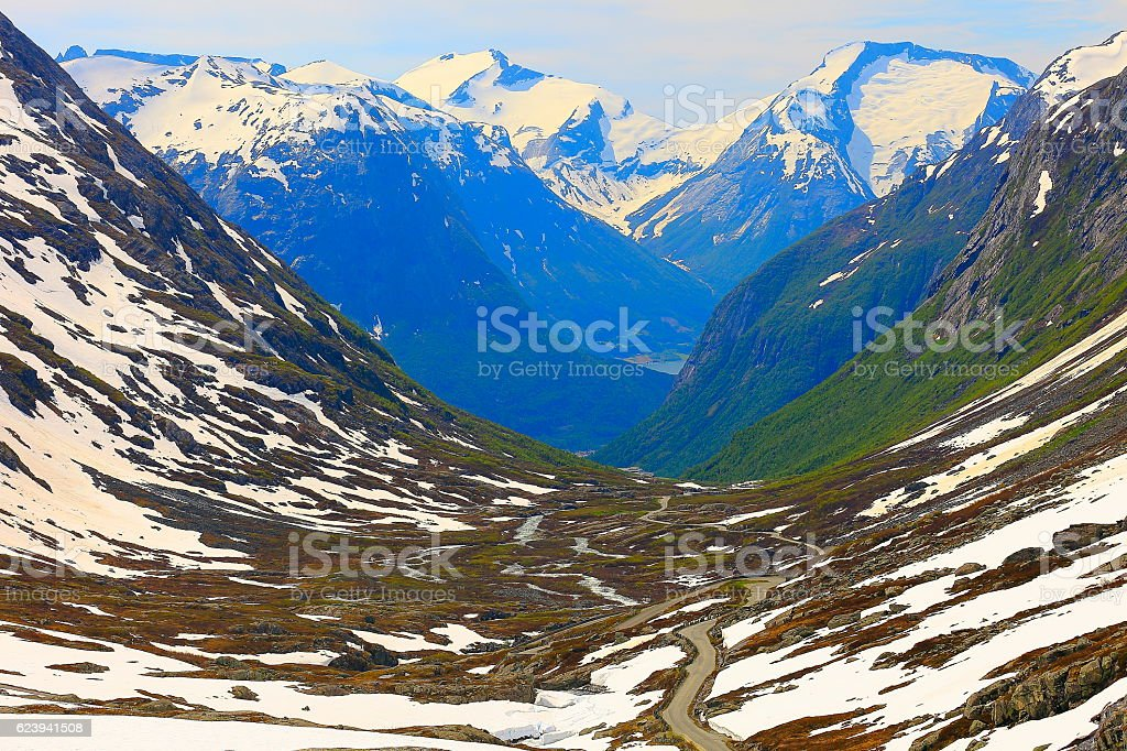 Idyllic Norwegian Gamle Strynefjellsvegen National Tourist route, Nordfjord, Norway, Scandinavia stock photo
