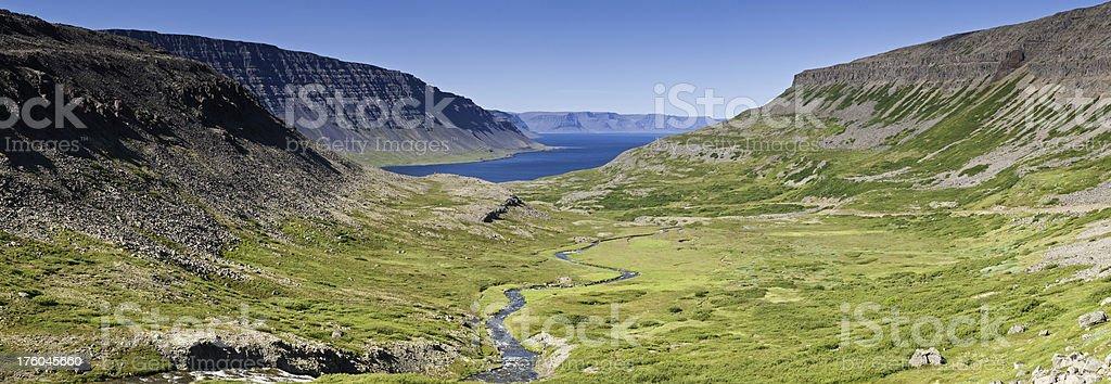 Idyllic ocean green valley blue fjords Arctic Circle Iceland panorama royalty-free stock photo