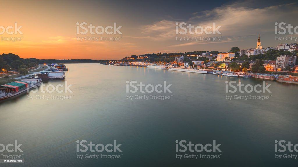 Idyllic panorama of Belgrade town at dusk stock photo