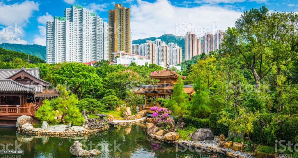 Idyllischen Park Tradtional Tee Haus Pagoden Hochhäuser Hong Kong China – Foto