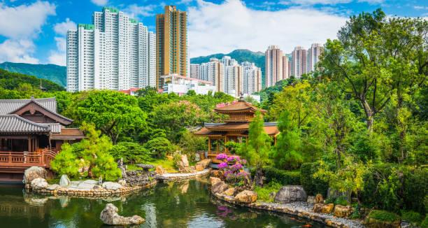 idyllischen park tradtional tee haus pagoden hochhäuser hong kong china - kowloon stock-fotos und bilder