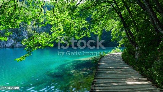 Idyllic pathway at the Plitvice Lakes, Croatia, a UNESCO World Heritage Site.