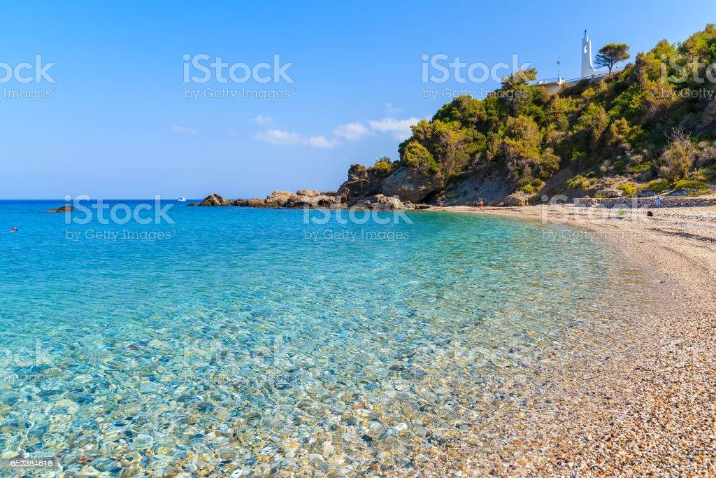 Idyllic Potami beach with turquoise crystal clear water, Samos island, Greece stock photo